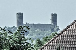 The castle, seen from the city of Barr (© J.E)