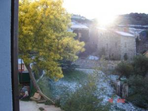 Sunrise over the snowy village