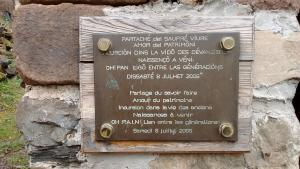 Plaque in front of bread oven