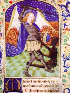 Saint Michael slaying the demon with three heads, book of hours, coll. MAHA (© J.E)