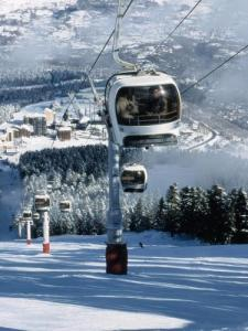 gondola to access the ski resort Ax 3 Domaines