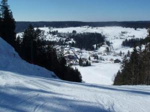 Ski slopes and village