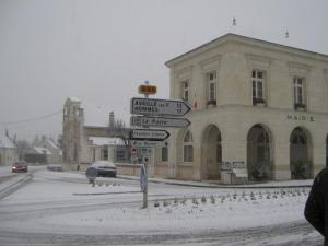 City Hall in the snow Benais