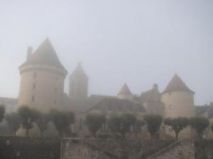 Castle of Bourganeuf in the mist