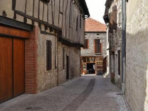 Street of the village and half-timbered houses