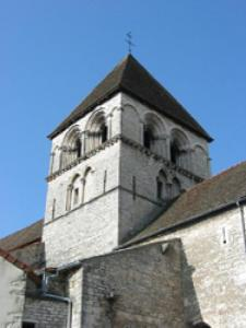 The Romanesque bell tower of the church ranked Saint Martin