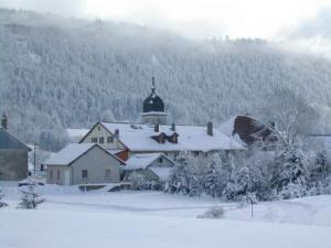 The village center in winter