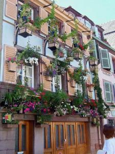 House decorated with flowers in the rue de Turenne at Colmar