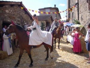 The medieval festival: the parade riding