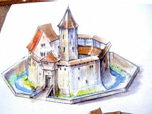 representation of the original castle (© Jean Espirat)