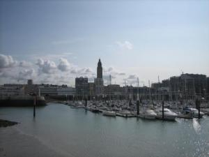 The marina and the bell tower of Saint-Joseph church