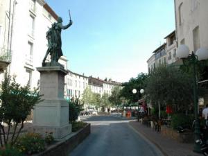 Downtown: statue of Assas