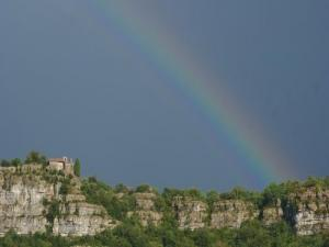 The Hermitage Saint-Eugene under a rainbow