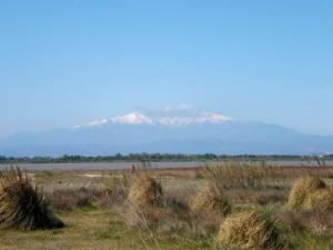 The Canigou peak at 2784m far