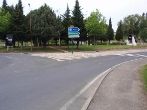 Roundabout near the pine trees and swimming pool