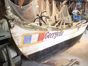 The pinnace Georgette display at the museum Vieilles Landes
