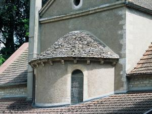 The apse of the church and its roof made of lavas