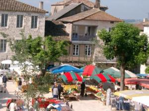 Monflanquin, market on the Place des Arcades