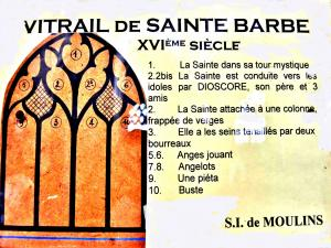 Explicações do vitral de Sainte Barbe (© J.E)