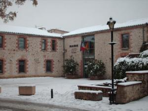 The town hall under snow