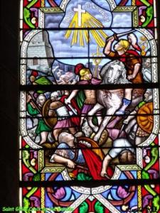 Window of the church Croix de Vie, St Vincent