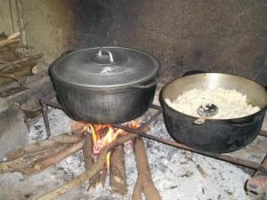 Cooking over a wood fire