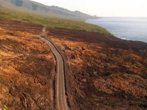 Route des laves - Éruption  de la Fournaise (avril 2007)