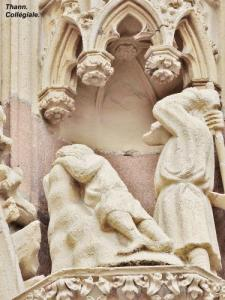 One of the scenes of the headband of the western tympanum of the collegiate church (© Jean Espirat)