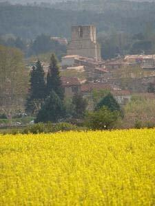 rape field against the backdrop of the medieval