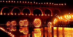 Evening fireflies at Pont du Gard