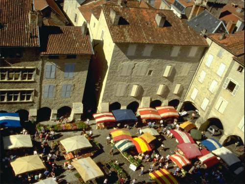 Aerial view of market Villefranche-de-Rouergue