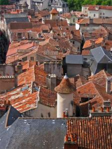 The roofs of the fortified town of Villefranche-de-Rouergue