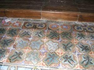 In the church, an astonishing collection of cement pavers