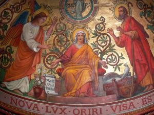 Agen - Inside Saint-Caprais cathedral: fresco (mural)