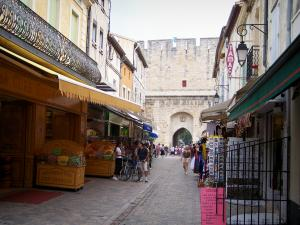Aigues-Mortes - Street lined with shops and houses, porte de la Gardette gate in background