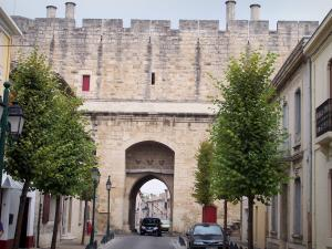 Aigues-Mortes - Porte de Saint-Antoine gate, trees and facades of houses