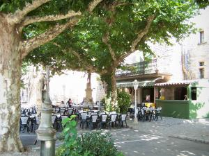 Aiguèze - Square shaded by plane trees and featuring a fountain and a café terrace