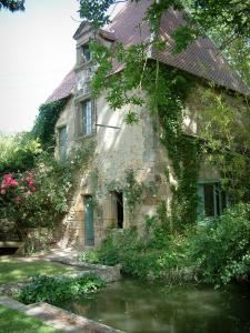 Ainay-le-Vieil castle - Detached house with plants, bamboo and canal