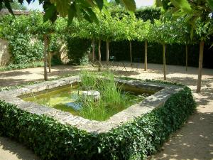 Ainay-le-Vieil castle - Montreuils chartreuses: garden with lake, trees, two chairs and a table