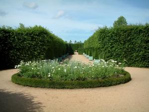Ainay-le-Vieil castle - Path in the park with flowerbed of white flowers