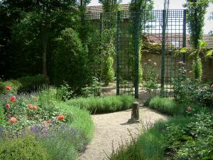 Ainay-le-Vieil castle - Garden: rosebushes, lavender, plants and fences
