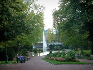 Aix-les-Bains - Floral park with trees, paths, benches, pond with fountain, lawns, flowers, plants and open-air theatre