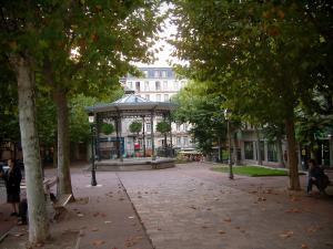Aix-les-Bains - Square with a bandstand, lampposts and trees