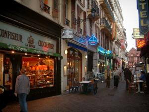 Aix-les-Bains - Pedestrian street with cafe terraces, shops and houses