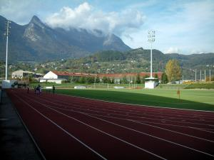 Albertville - Olympic stadium with view of mountains