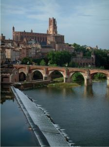 Albi - The River Tarn, the Pont-Vieux bridge, houses of the old town, trees, the Berbie palace and the Sainte-Cécile cathedral