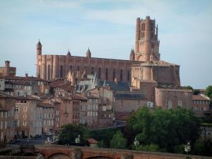 Albi - Sainte-Cécile cathedral (brick-built building of southern gothic style), the Berbie palace, houses of the old town and the Pont-Vieux bridge