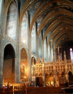 Albi - Inside of the Sainte-Cécile cathedral: rood screen of Flamboyant Gothic style and frescoes