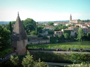 Albi - Berbie palace gardens with view of the River Tarn, houses and the Sainte-Madeleine church