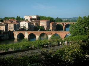 Albi - Berbie palace gardens with view of the River Tarn, the Pont-Vieux bridge, the August 22nd, 1944 bridge and buildings of the city